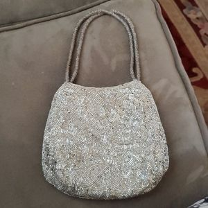 Silver Beaded Formal Evening Bag by La Regale